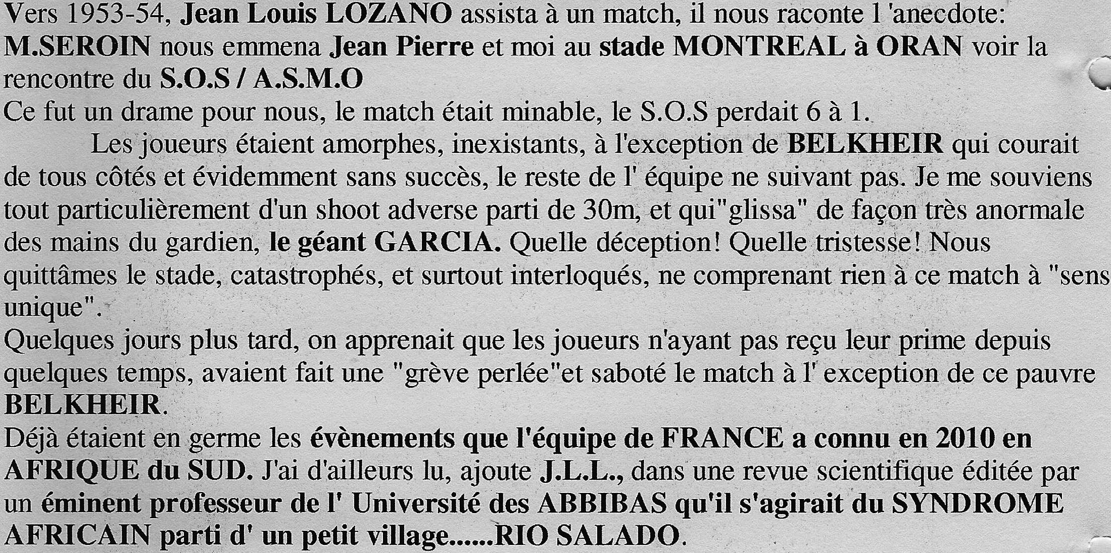 Anecdote Jean Louis LOZANO