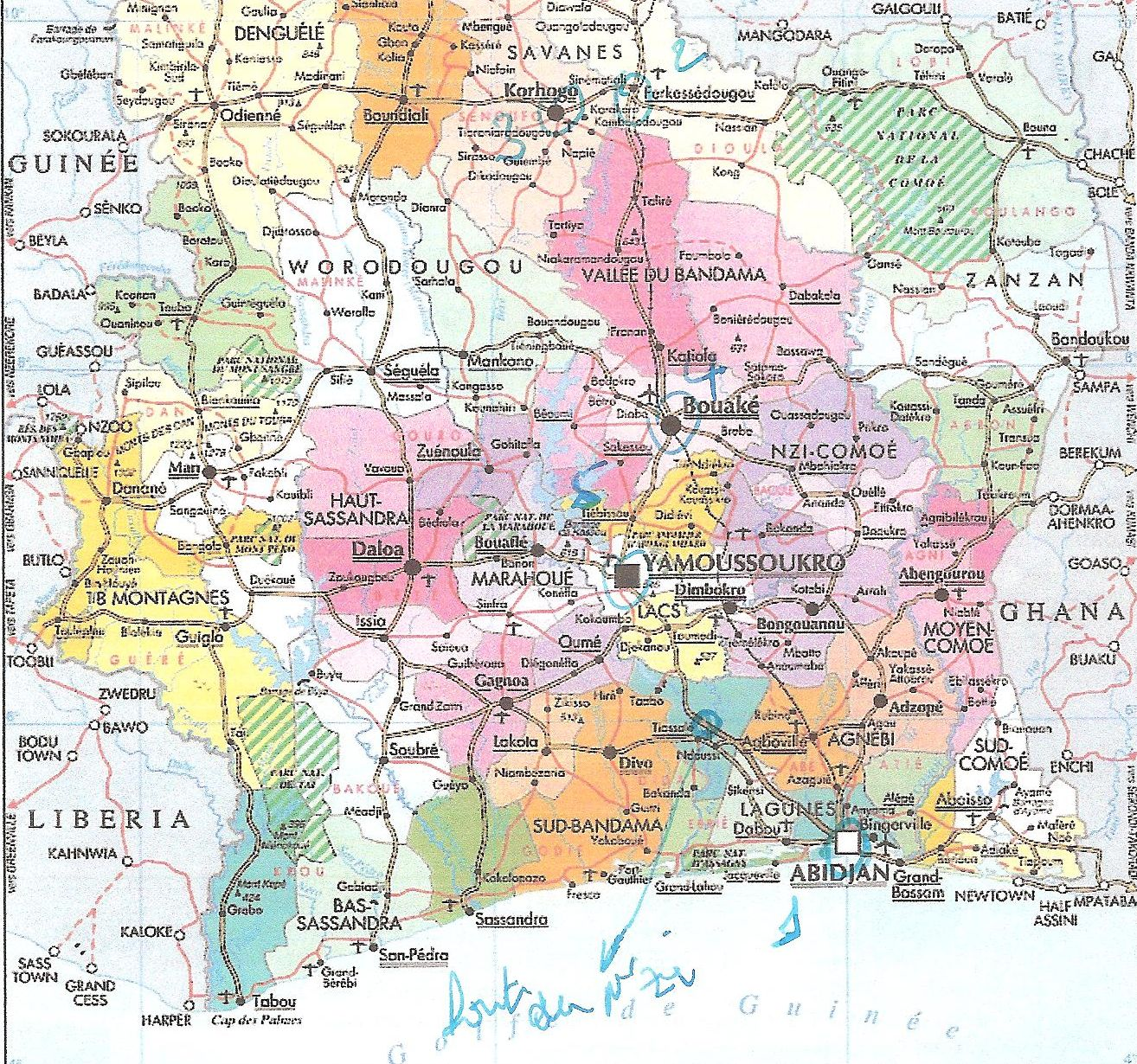 CARTE DE LA COTE D'IVOIRE 002